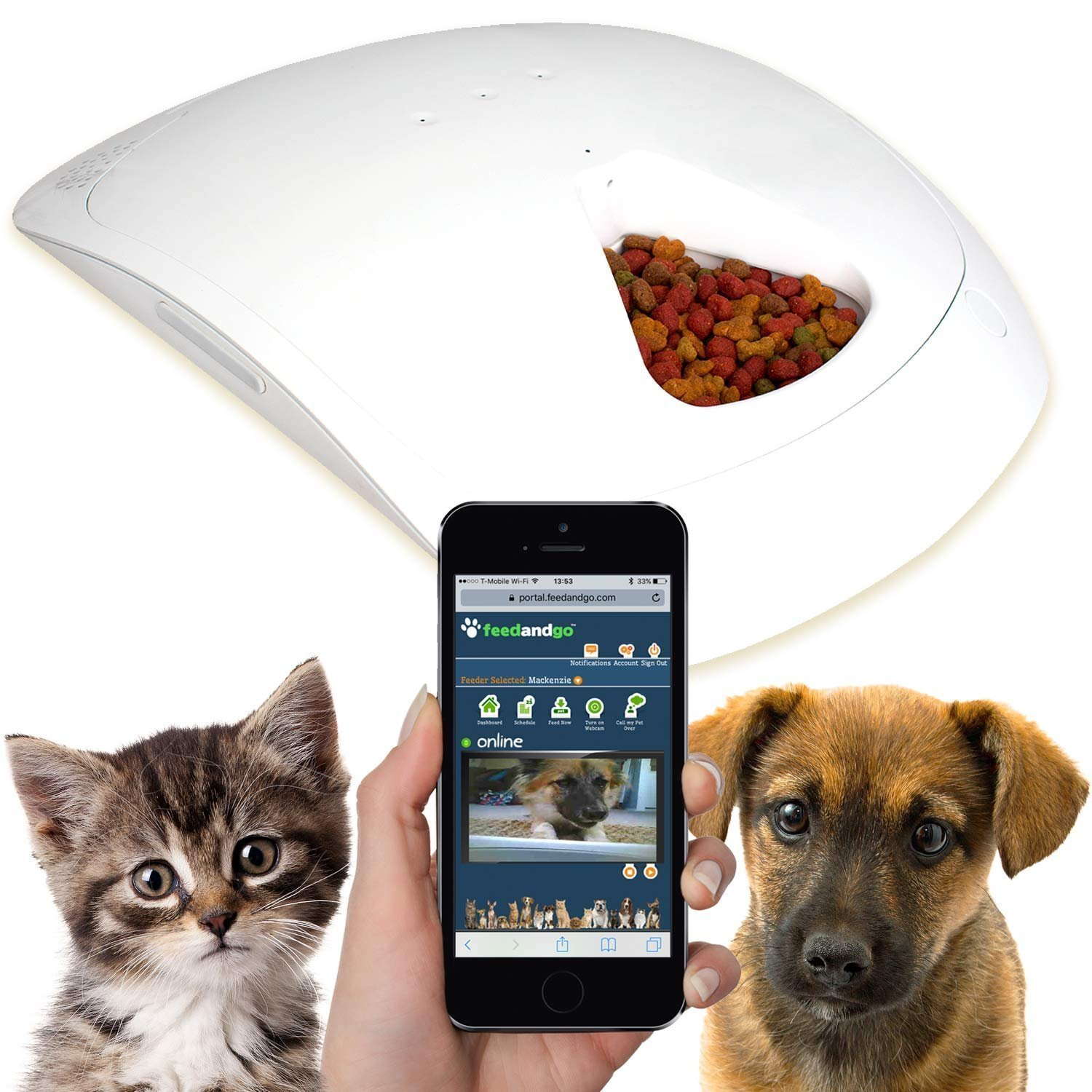 Feed and Go Smart Pet Feeder 2018 Model Now With iOS/Android Apps. Built In Webcam. For Wet/Dry Food, Treats & Meds