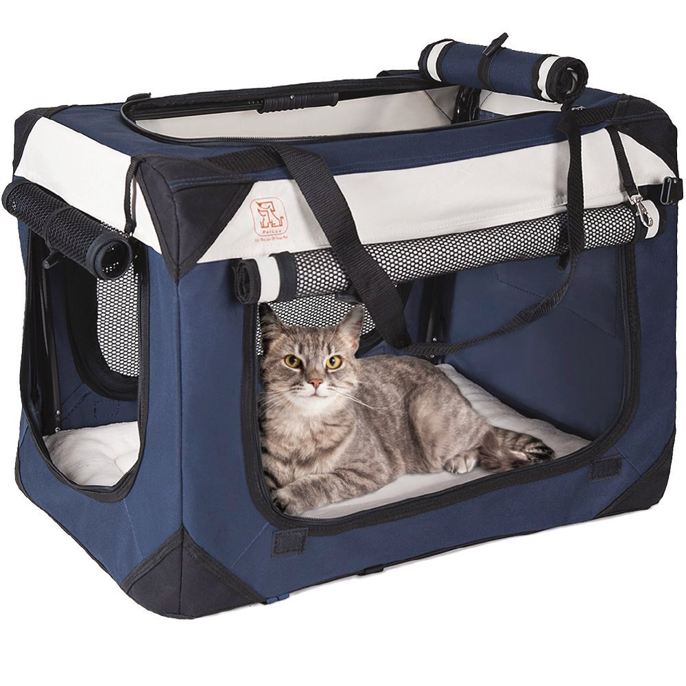 "PetLuv Soothing ""Happy Cat"" Premium Soft Sided Cat Carrier & Travel Crate w Locking Zippers Comfy Plush Nap Pillow 4X Interior Room Airy Windows Sunroof Folds Flat Lightweight Washable Reduces Anxiety"